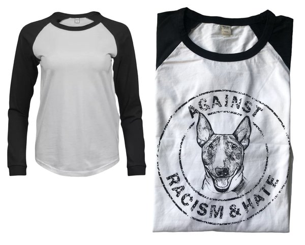 "Damen-Baseball Tee ""Against Racism & Hate"" weiß - Gr. XXL"